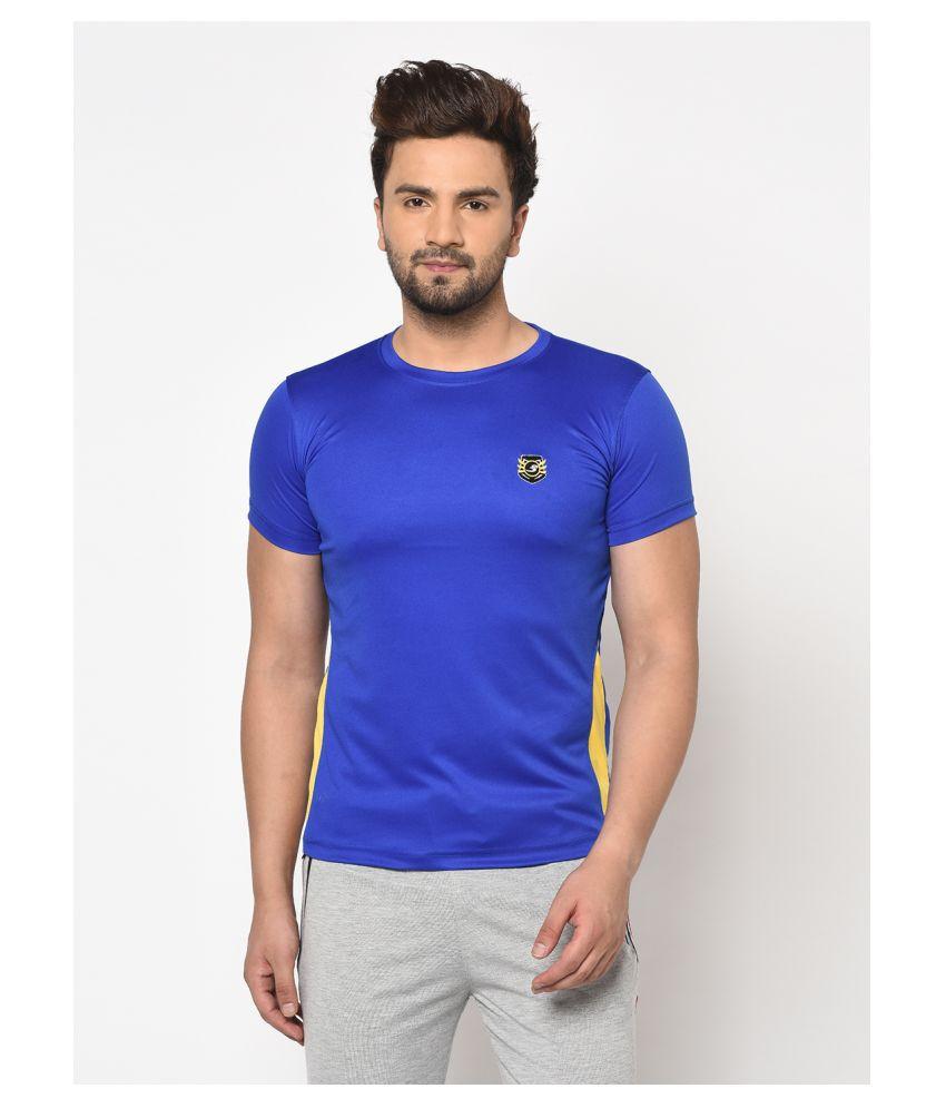 V2 Cotton Viscose Blue Solids T-Shirt
