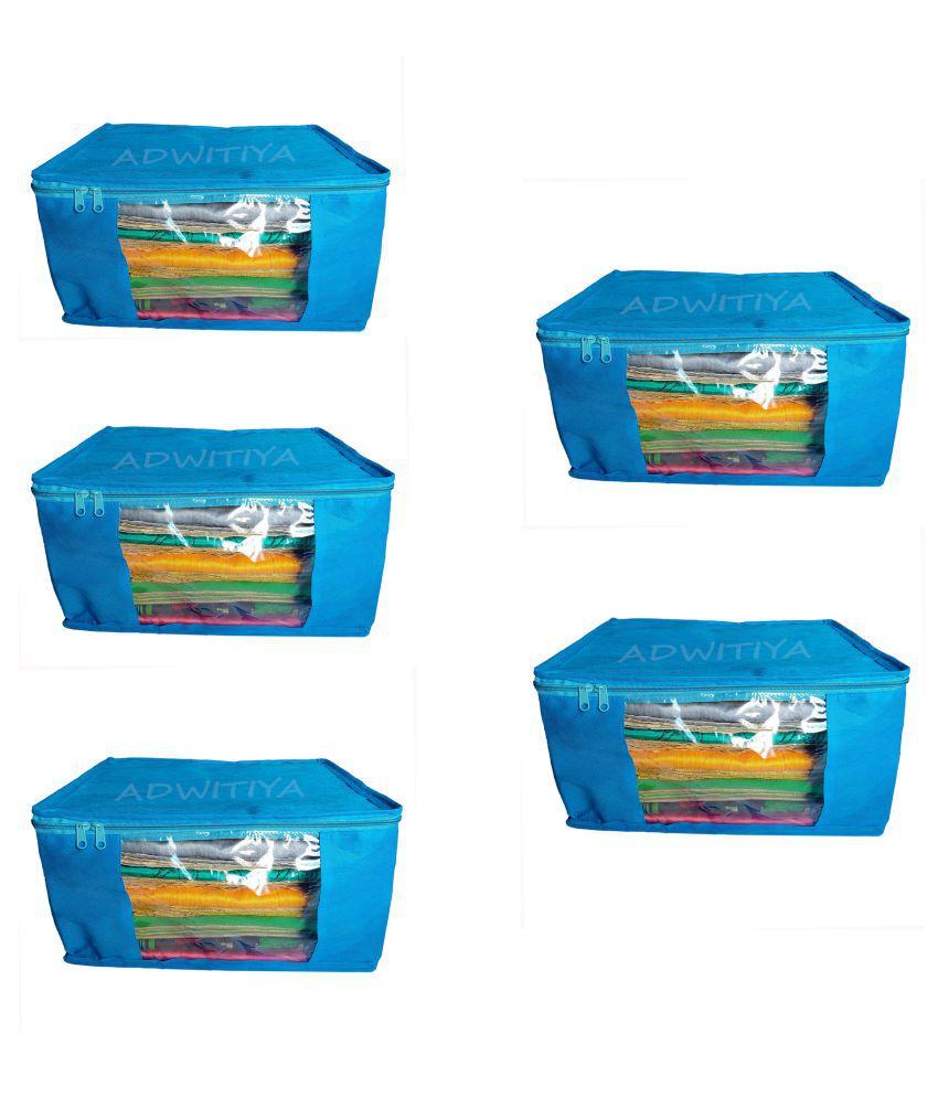 ADWITIYA   Set of 5 Pcs Plain 9 inch Large Nonwoven Saree Salwar Suit Shirt Jeans Bedsheet Garment Cloth Storage Organizer Cover Case   Blue