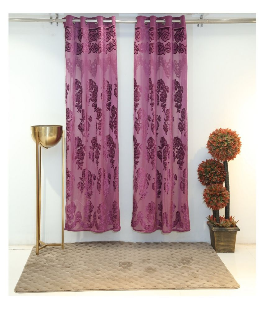 Florance Set of 2 Door Ring Rod Polyester Curtains Purple
