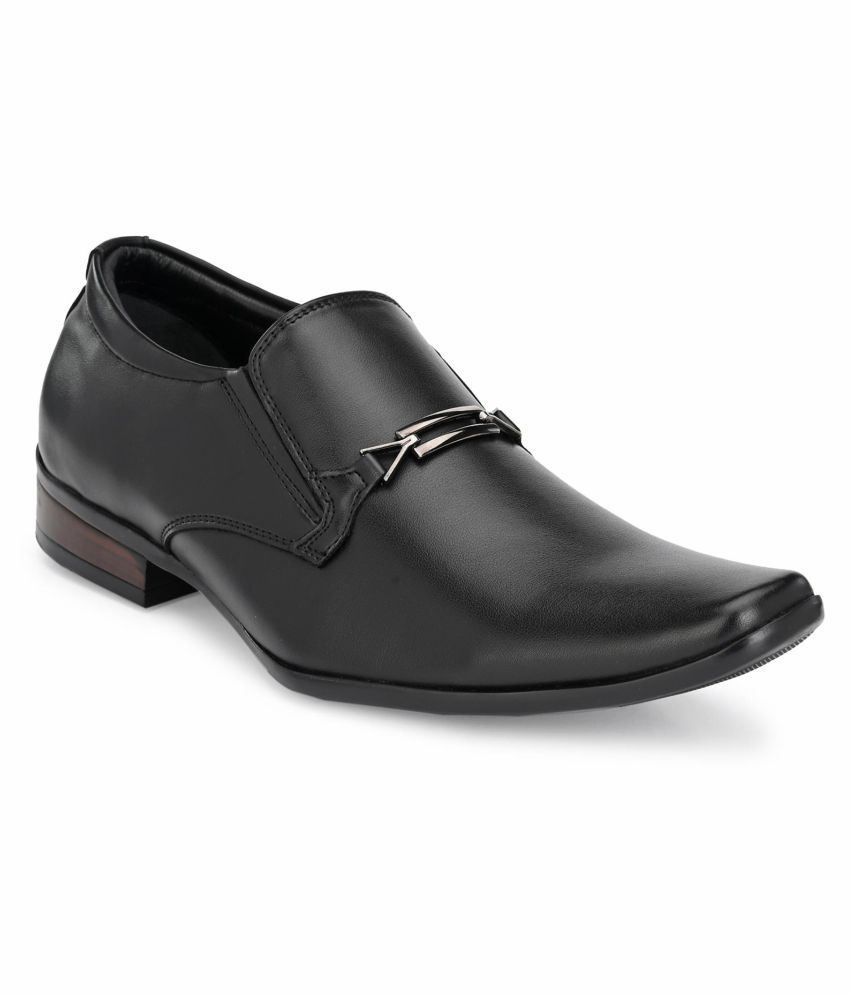 Hitz Slip On Genuine Leather Black Formal Shoes