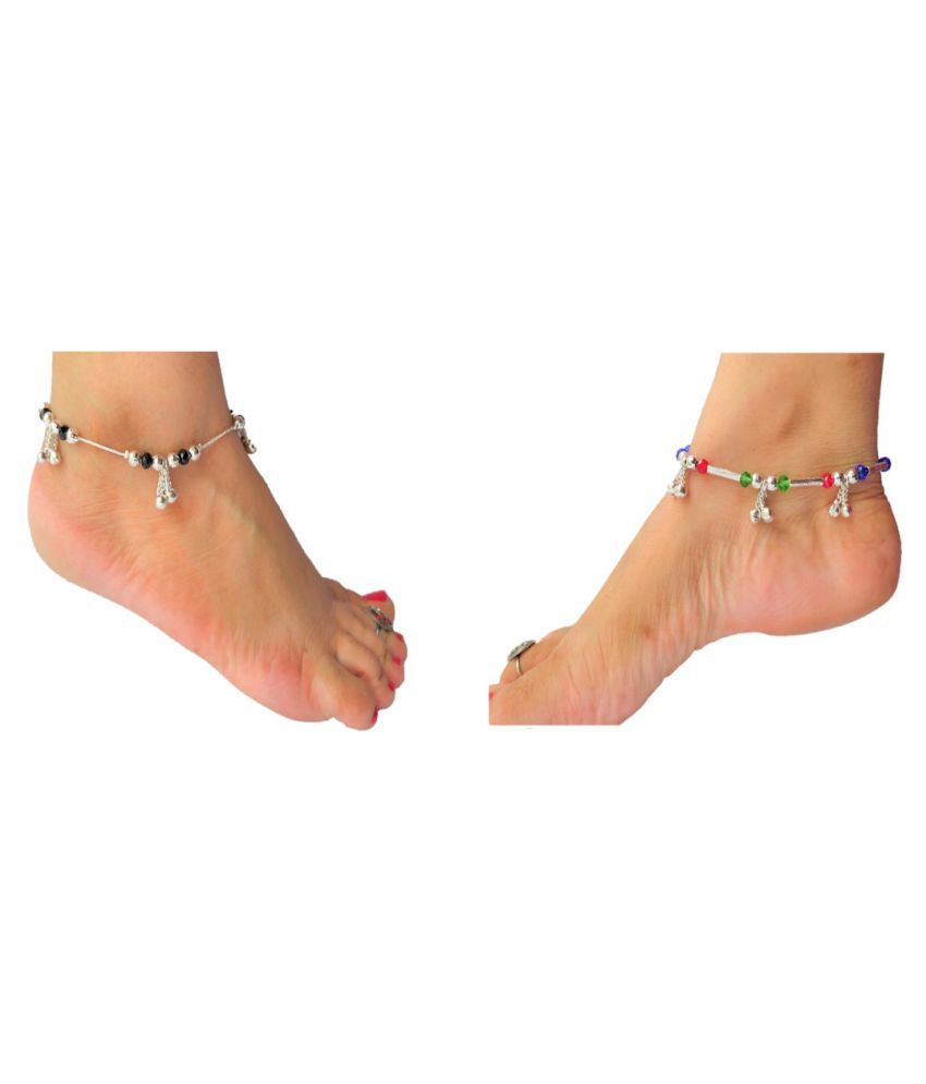 Lotus Rise Women and Girls Silver Plated Anklets Indian Traditional Ethnic Fashion Foot Jewellery   (Pack of 2 PAIR)