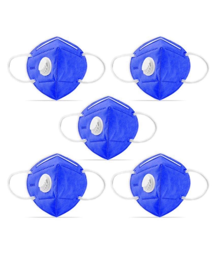 Dr. Morepen KN95 Filter Mask Anti Pollution Mask For Women/Men Pack of 5, Dark Blue