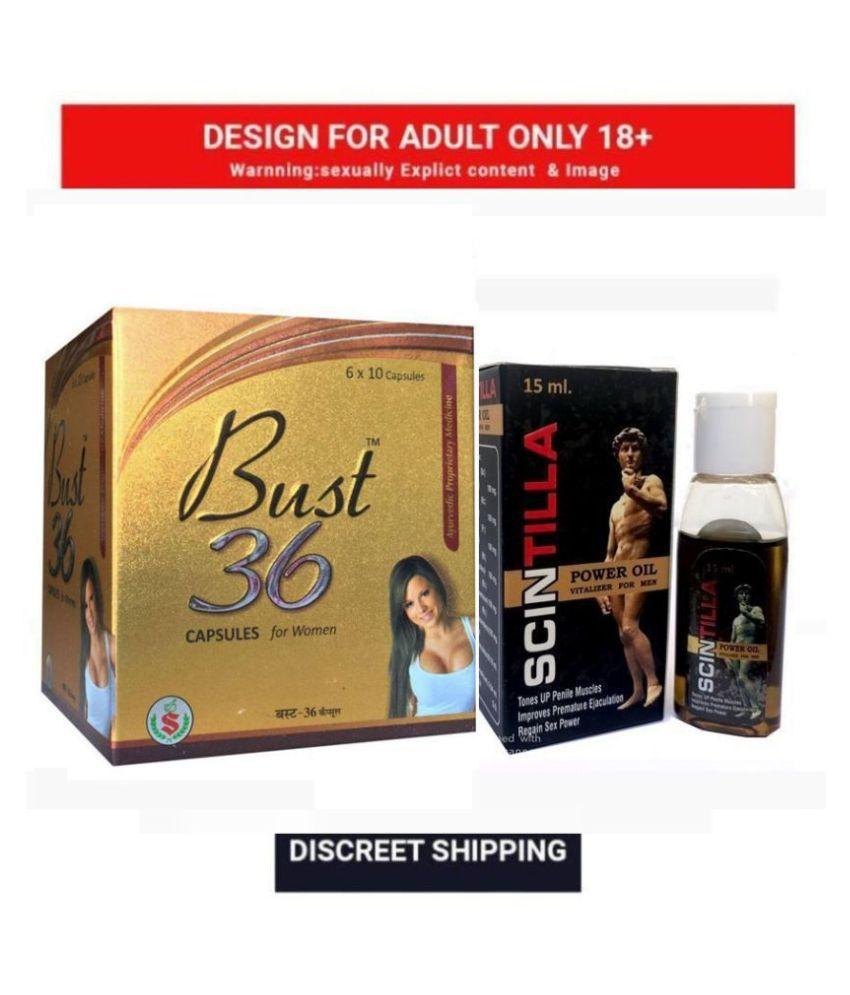 Herbal Bust 36 Capsule For Women , Pack Of 60 no.s & Scintilla Power Oil For Men, 15 ml,