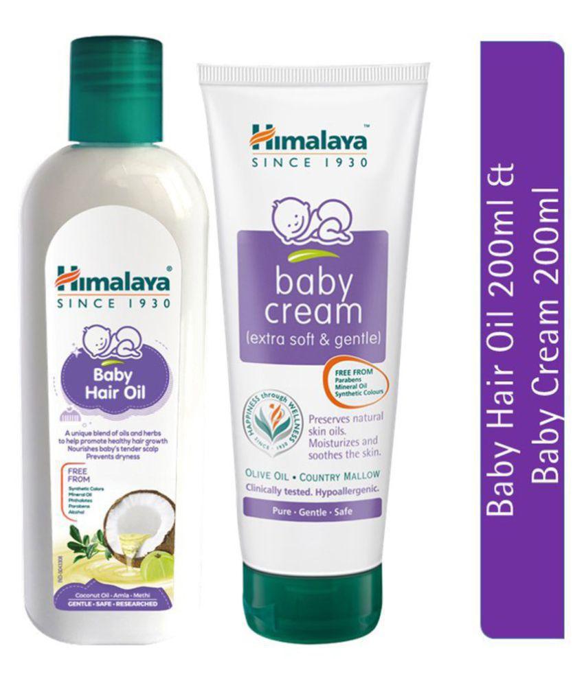 Himalaya Baby Hair Oil (100ml) & Himalaya Baby Cream (200ml) (Pack of 2)