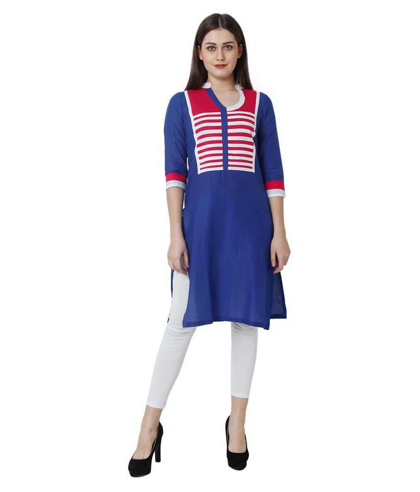Harshaya G Blue Cotton A-line Kurti