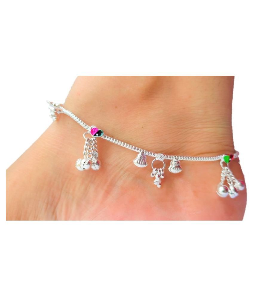 lotus rise  Silver Alloy Anklet Latest Fashion Jewellery Collection Elegant for Girls Women (10 inch)