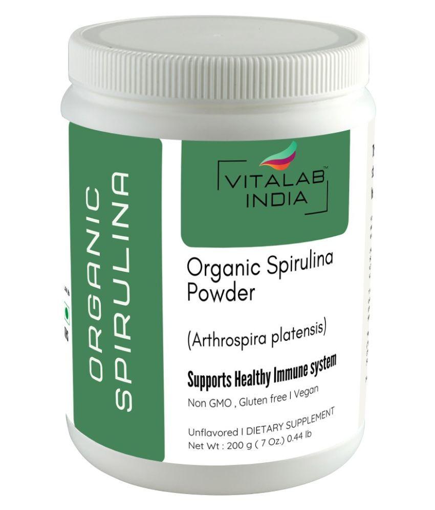 VITALAB Organic Spirulina Powder Health Drink Powder 200 gm Unflavoured