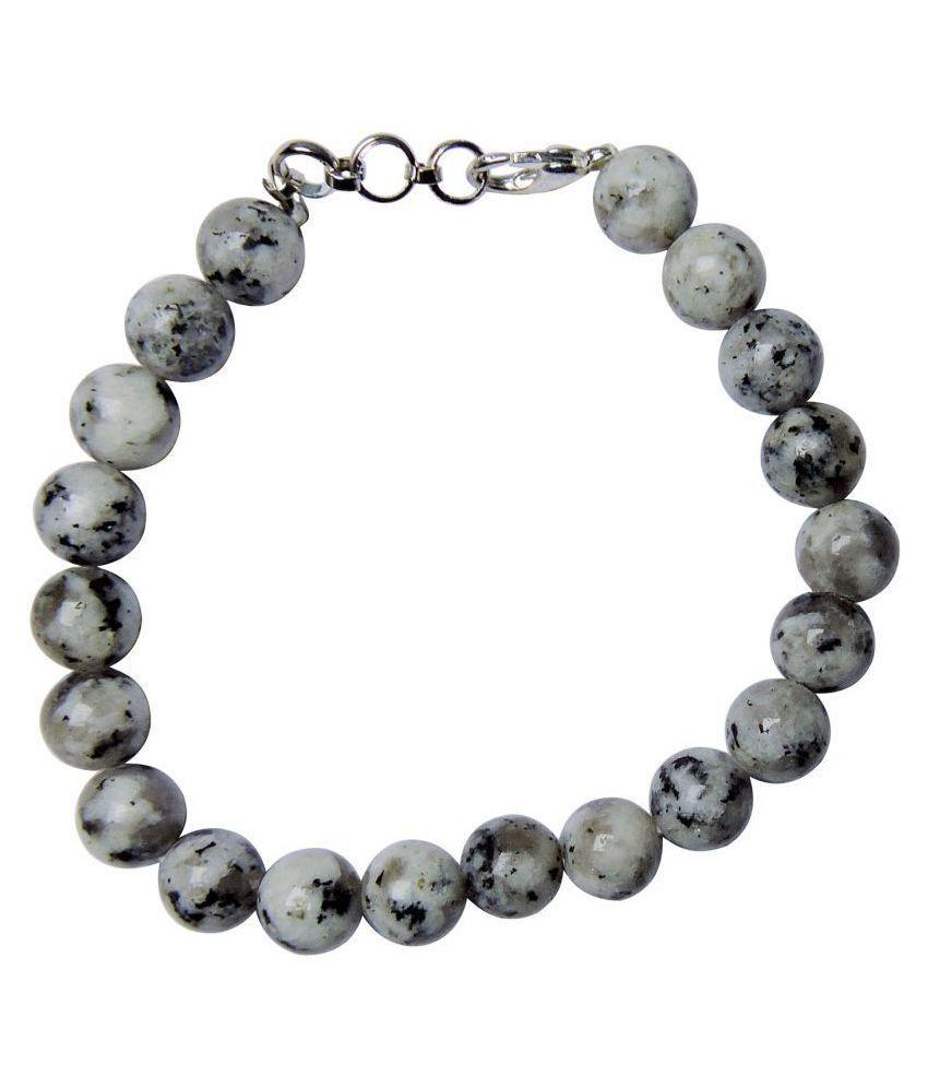 Satyamani Natural Rainbow Moonstone Bead Bracelet with Hook