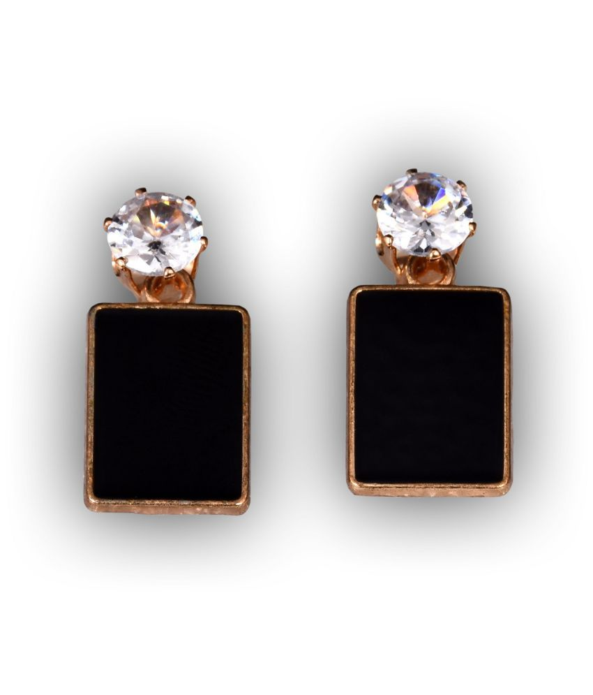 Aster: stylish casual with Swarovski Zirconia earrings in black color for women and girls, Made in INDIA
