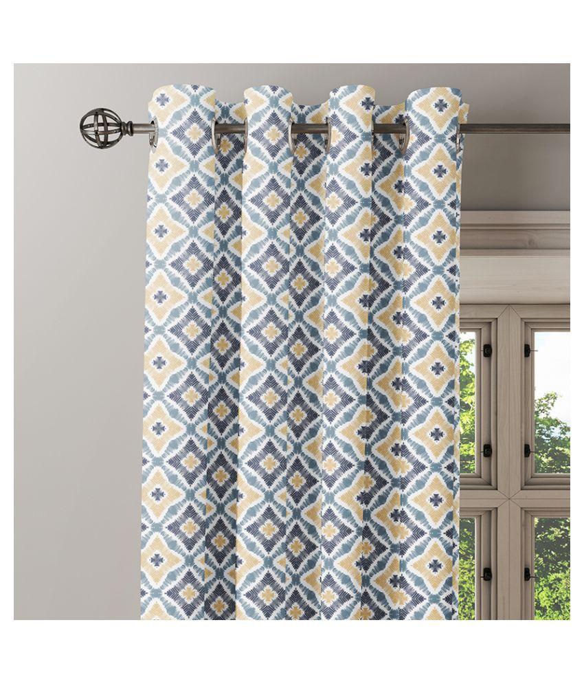 Ixora Decor Set of 2 Window Eyelet Cotton Curtains Gray
