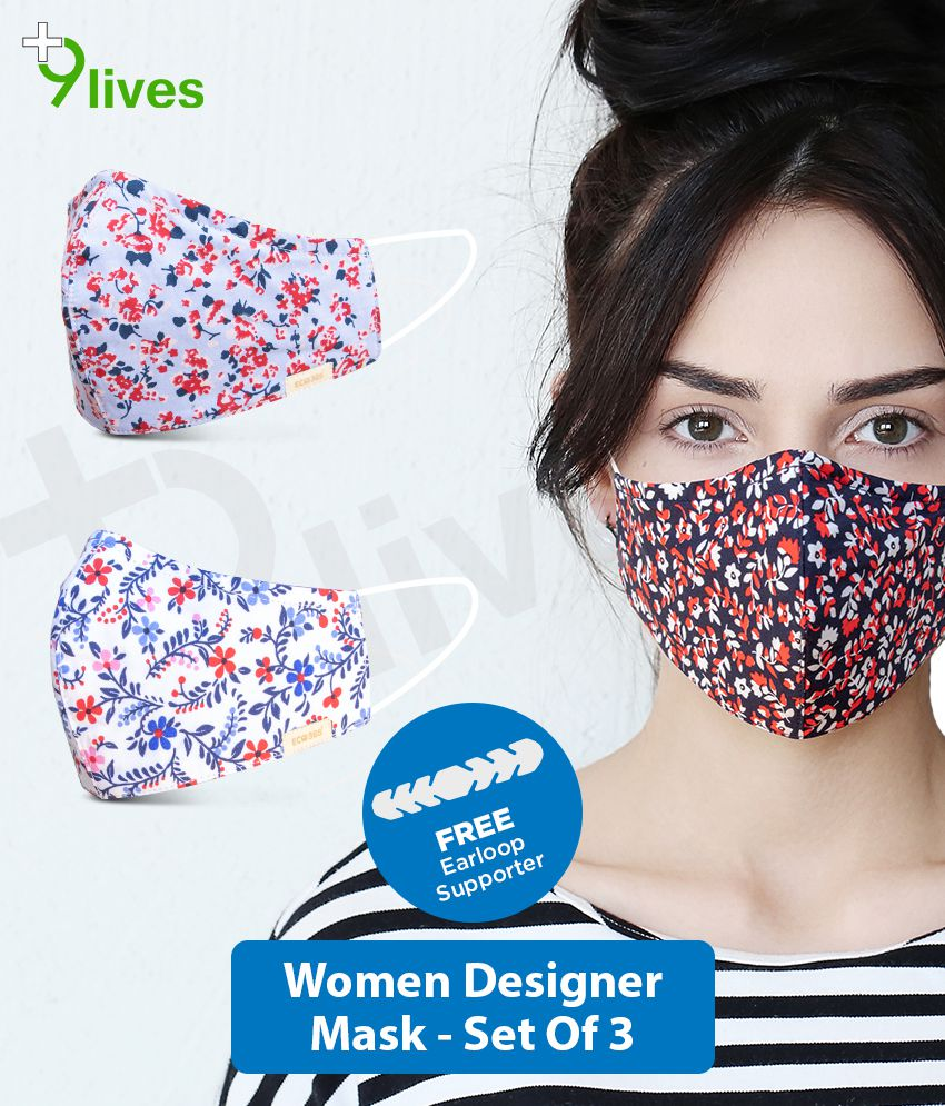 9lives 6 Layer ECO Protection Comfortable Cotton Mask with FREE Ear-loop Supporter- (Reusable, Pack of 3)