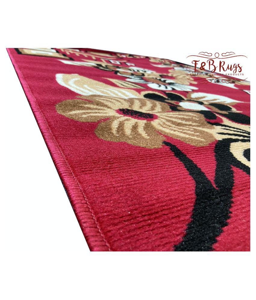 ASAD EMPORIUM RUGS Red Polypropylene Carpet Floral 5x7 Ft