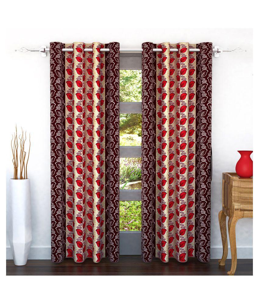Bedspun Set of 2 Door Eyelet Polyester Curtains Red