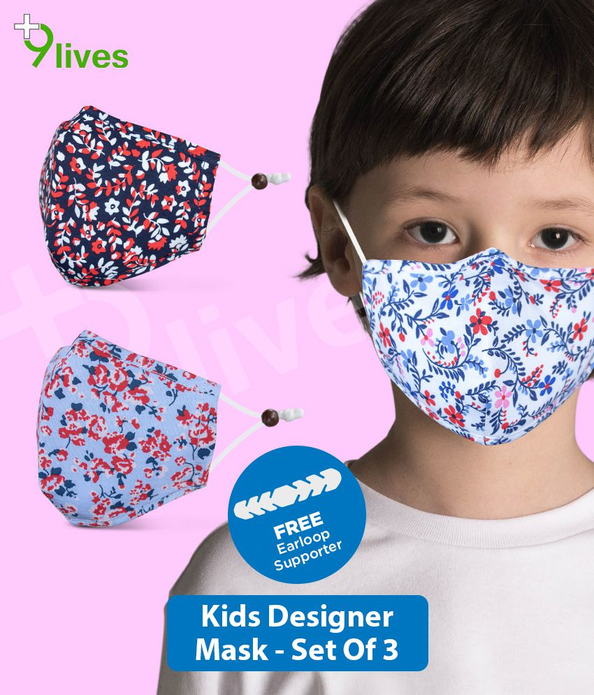 9lives 6 Layer ECO Protection Comfortable Cotton Kids Mask with FREE Ear-loop Supporter- ( 2- 8 Yrs , Pack of 3)