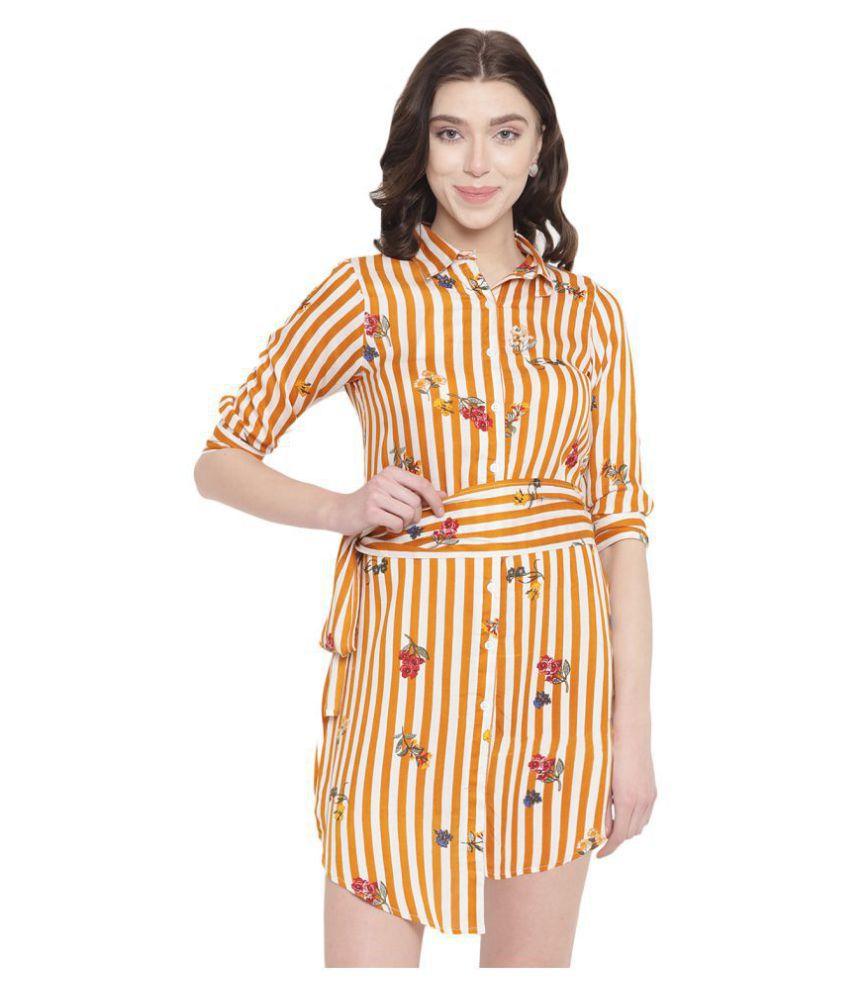 Abiti Bella Rayon Yellow A- line Dress