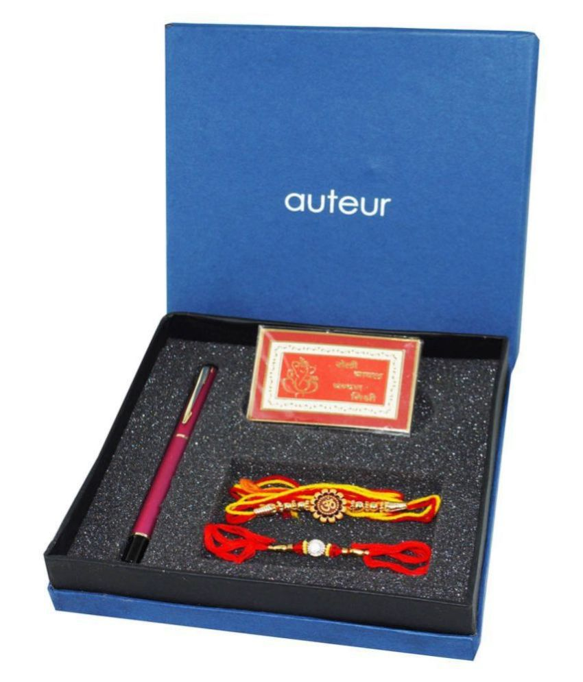 Auteur Beautiful Pen and Rakhi Combo a Gift with, A Beautiful Purple Pen, Rakhi for Brother and Bhabhi Set with Roli Moli and Mishri Pack Pen Gift Set  (Pack of 4)
