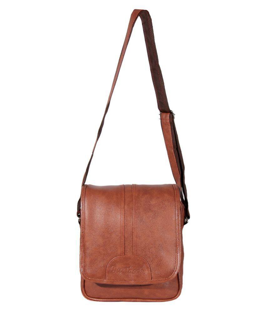 Da Tasche Tan Faux Leather Sling Bag