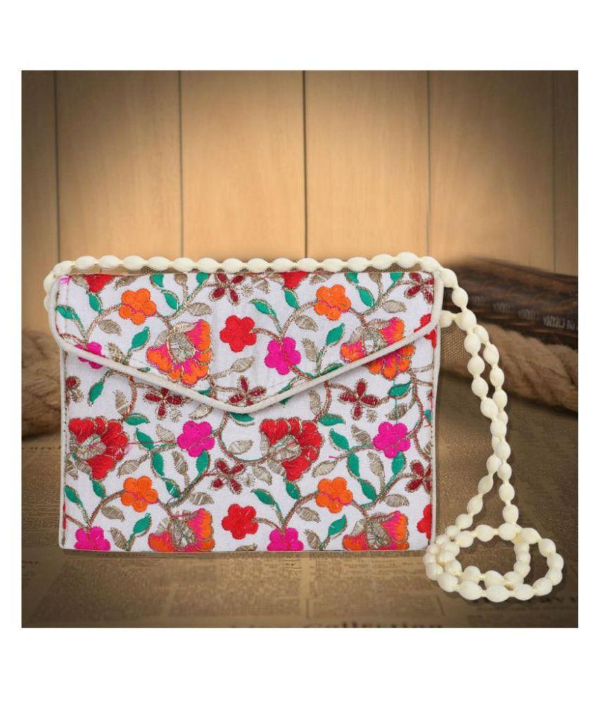 Fashion Art Multi Fabric Box Clutch