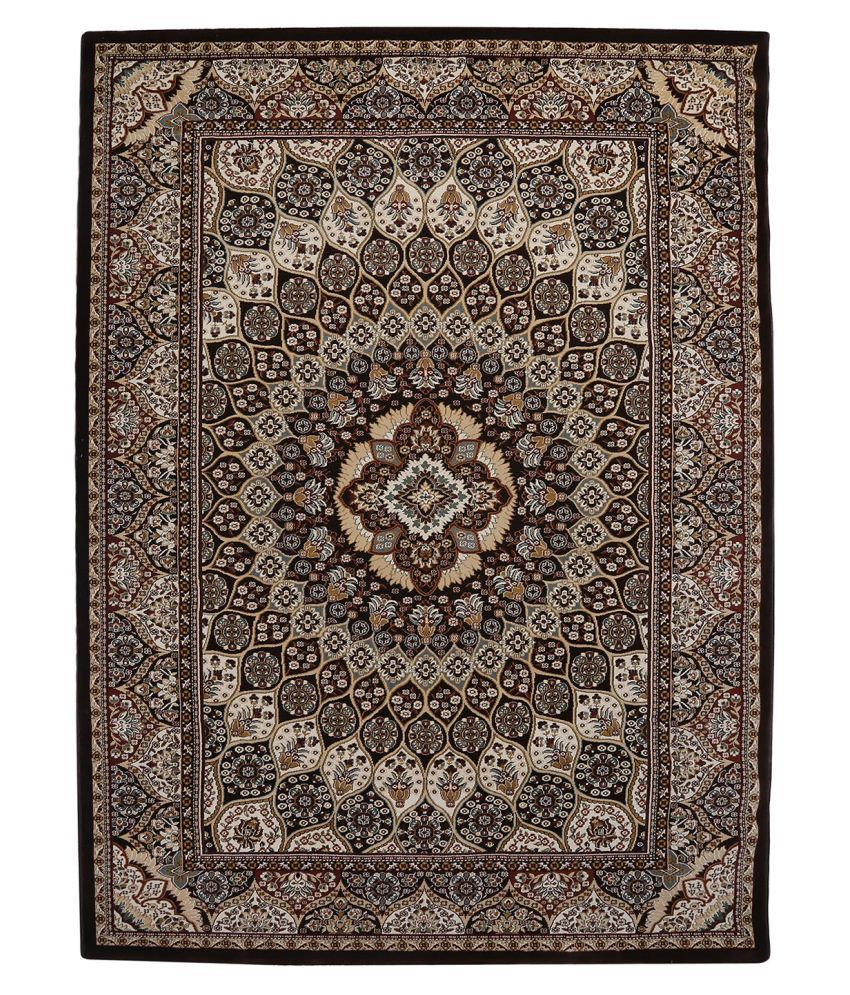 Obsessions Brown Polypropylene Carpet Contemporary 6x9 Ft