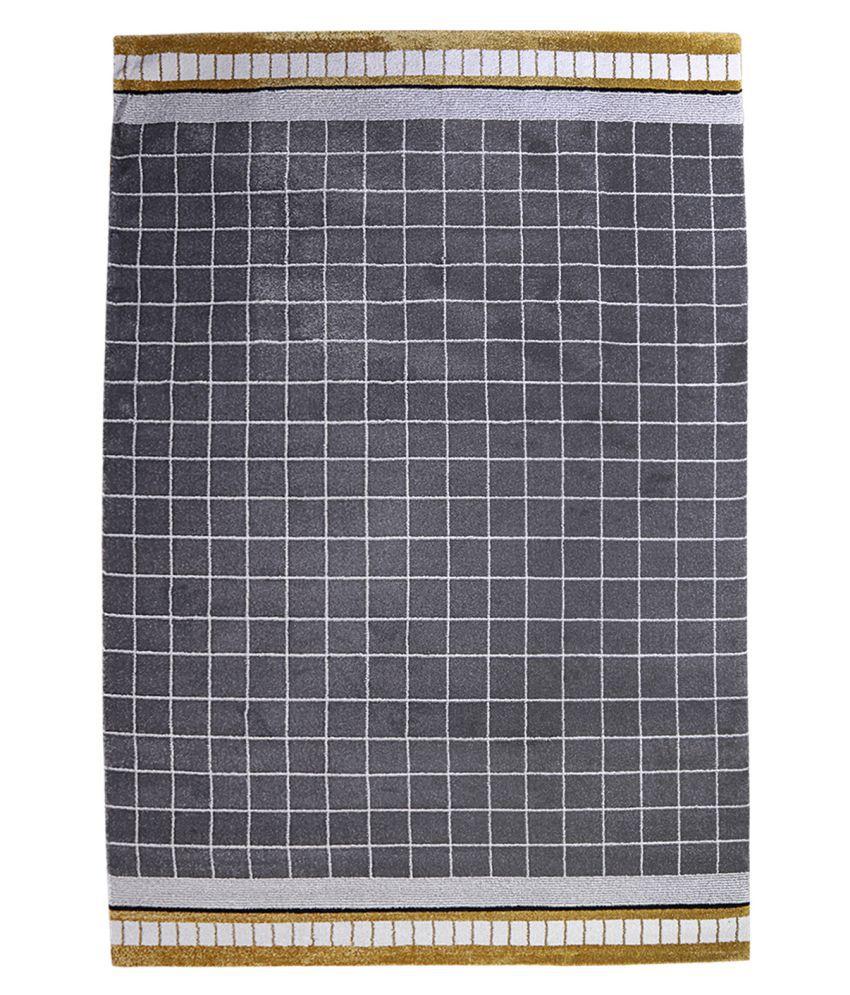 Obsessions Gray Polypropylene Carpet Checks 2x4 Ft