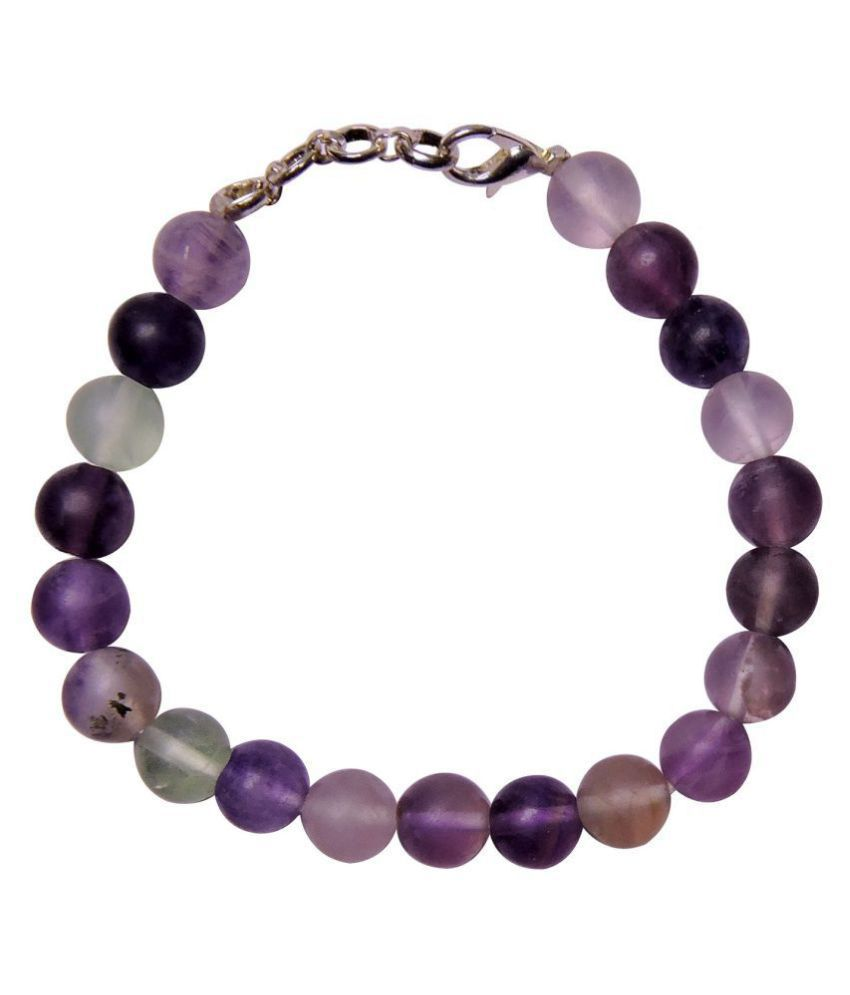 Satyamani Natural Fluorite Faceted Bead Bracelet (8 mm) with Hook