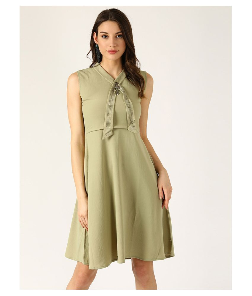 V2 Cotton Green Shift Dress