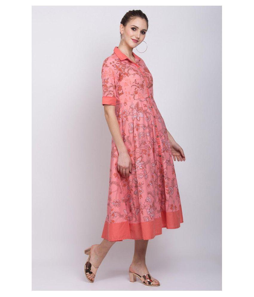 Rangriti Cotton Red Regular Dress