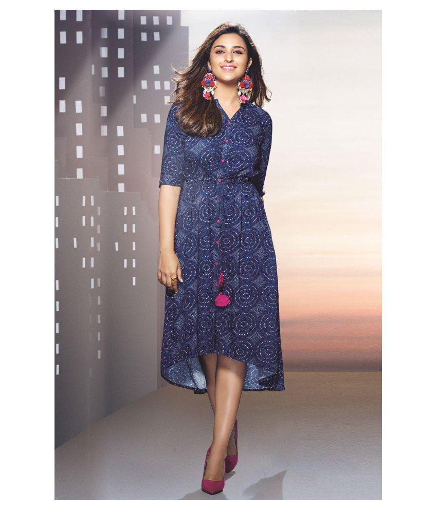 Rangriti Viscose Blue Asymmetric dress