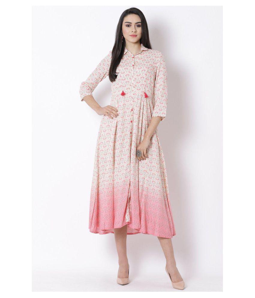 Rangriti Viscose White Regular Dress