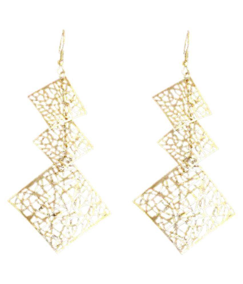MadnMod Charming design Bohemian Vintage Ethnic Gold Color Square pendant shape dangle earrings For Women