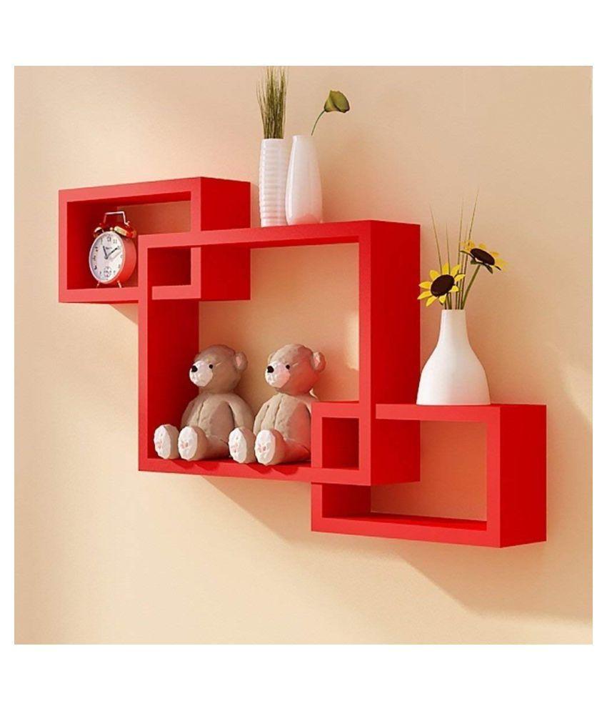 HARIS ART GALLERY Floating Shelves Red MDF - Pack of 1