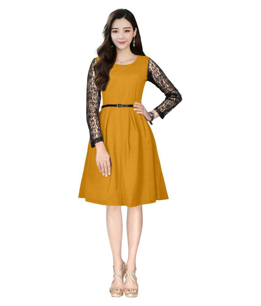 SAIRAJ FASHION Crepe Yellow Fit And Flare Dress