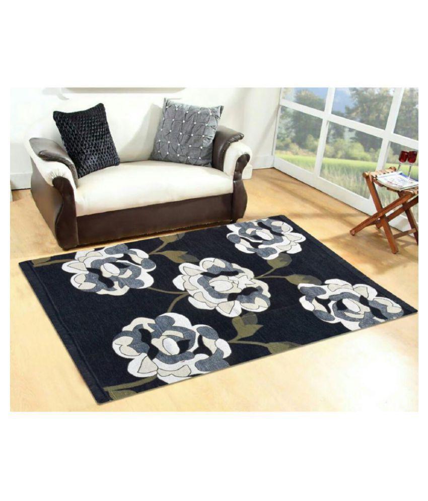 Shiv kirpa Black Chenille Carpet Abstract 5x7 Ft