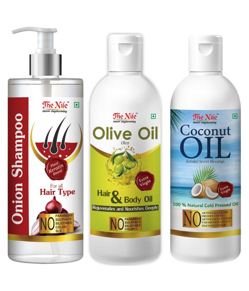 The Nile Red Onion Shampoo 200 ML +  Olive Oil 100 ML + Coconut Oil 100 ML  Shampoo 400 mL Pack of 3
