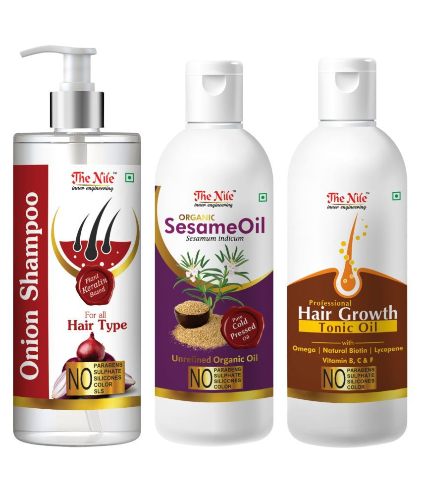 The Nile Red Onion Shampoo 200 ML + Sesame  100 ML + Hair Growth Tonic 100 ML  Shampoo 400 mL Pack of 3