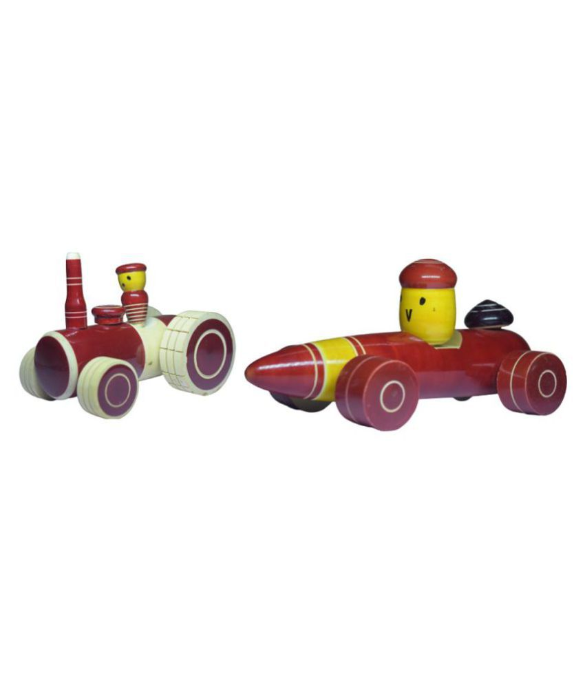 Wooden Pull Along Vehicle Combo Toy set of 2 - Tractor and Formula one racing car