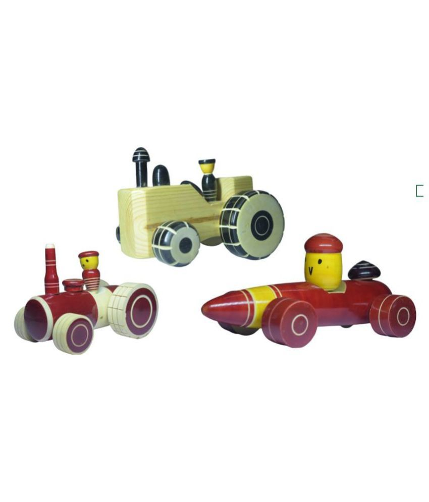 Wooden Vehicle Toy set Combo pack of 3 - Tractors and Racing Car Pull Along Toys