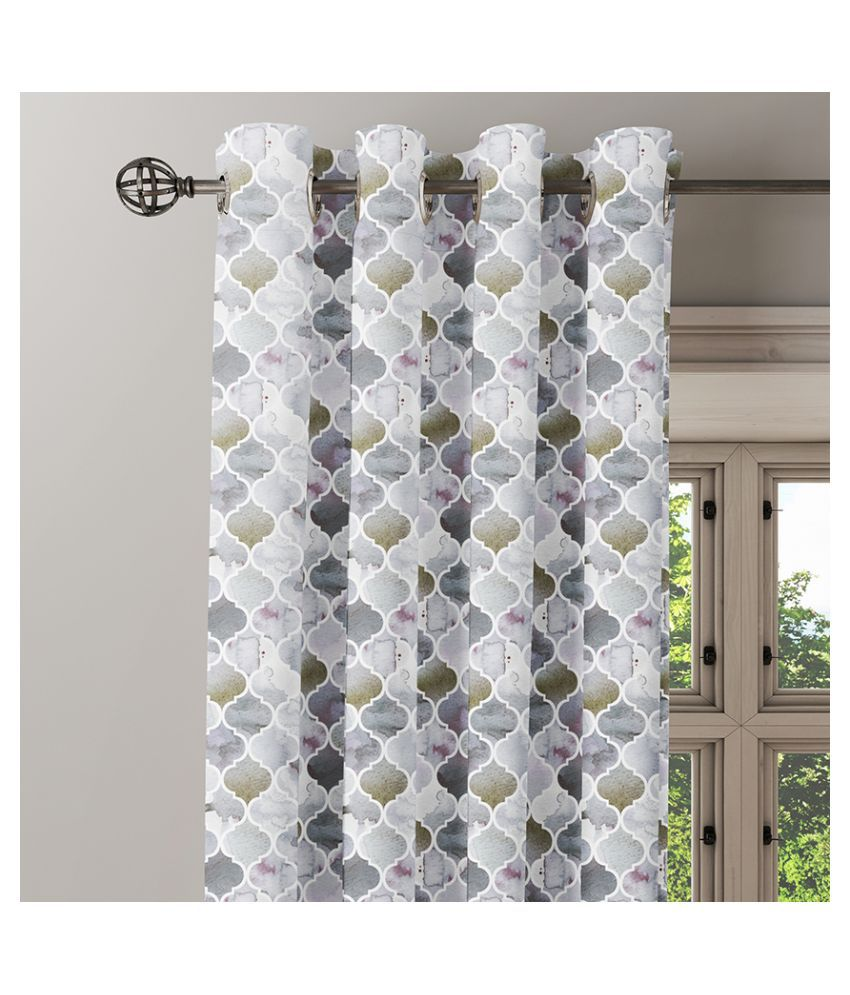 Ixora Decor Set of 2 Window Eyelet Cotton Curtains Grey