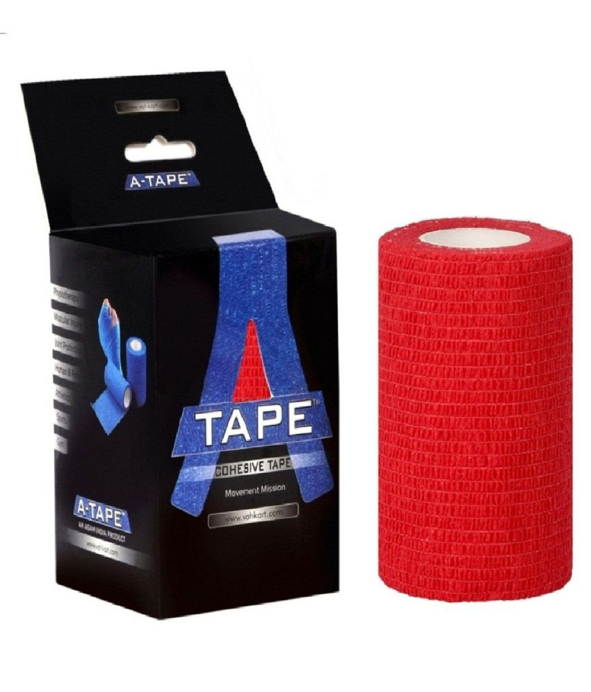 A-TAPE Cohesive Crepe Elastic Bandage Red (10 cm X 4.5 m, Pack of 2)