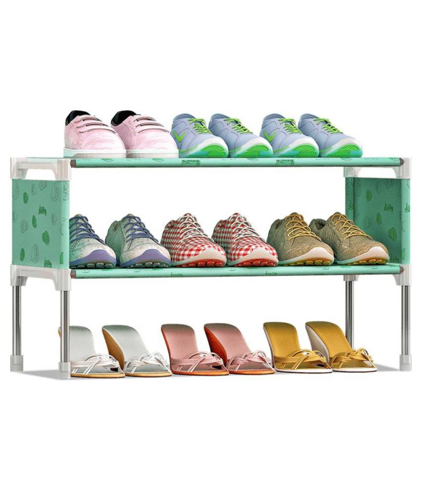 SECOM Water Resistant Metal Collapsible Shoe Stand   Multipurpose Portable Folding Shoe Racks for Home Organizers.