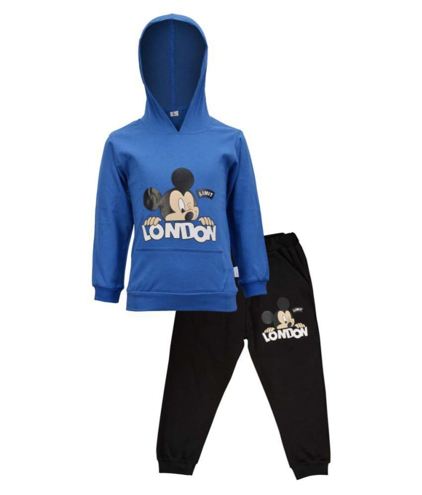 CATCUB Kids Hooded Mickey Mouse Combo Top & Pant Set (Blue)