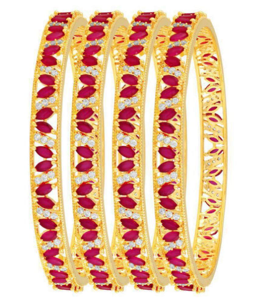 MFJ Fashion Jewellery Traditional Collection Amarican Daimond Gold Plated Bangle For Women (Set of 4)