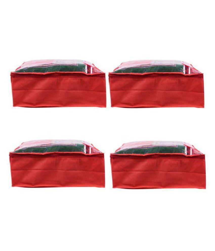 RAJA Red Saree Covers - 4 Pcs