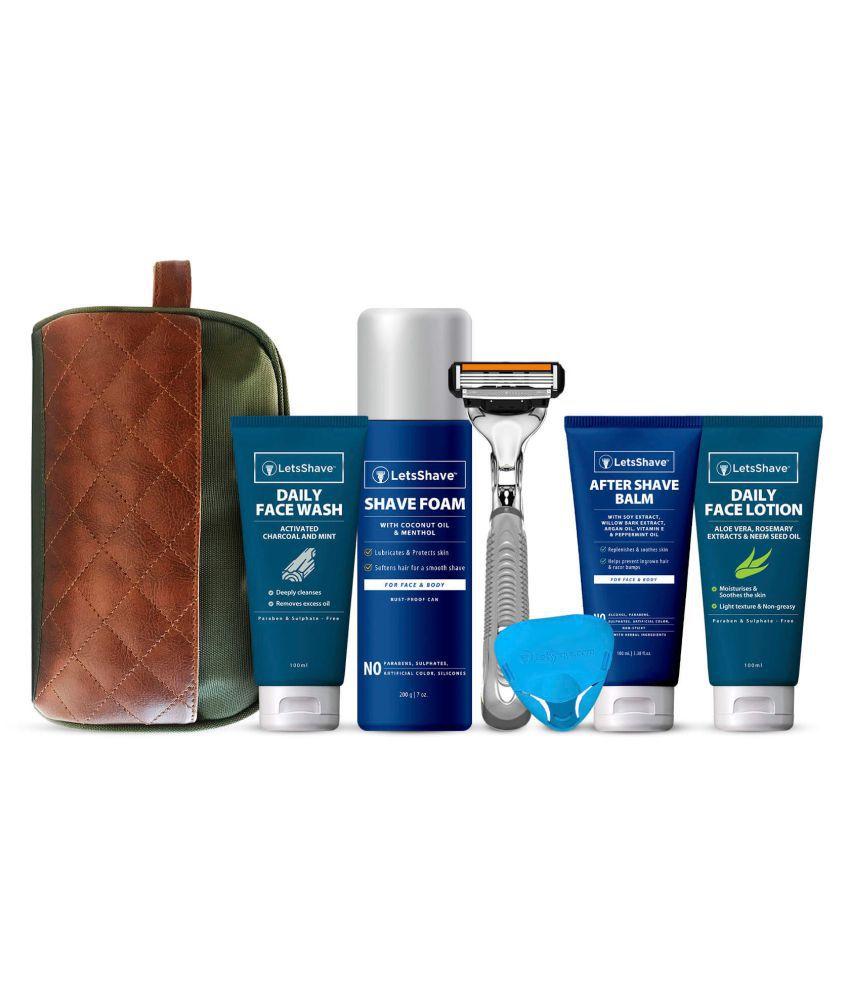 LetsShave Men #039;s Grooming and Shaving Essential Kit Shaving Brush Pack of 7