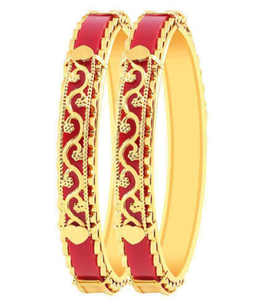 MFJ Fashion Jewellery Designer Collection Gold Plated Bangle For Women (Set of 2)