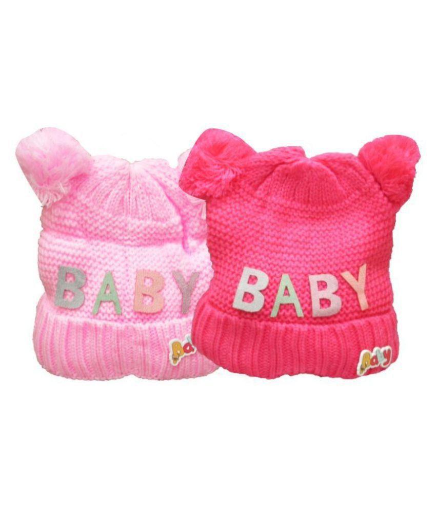 VBaby Cute Adorable Baby Winter wear Woolen Baby Cap Pack of 2 6-24 months