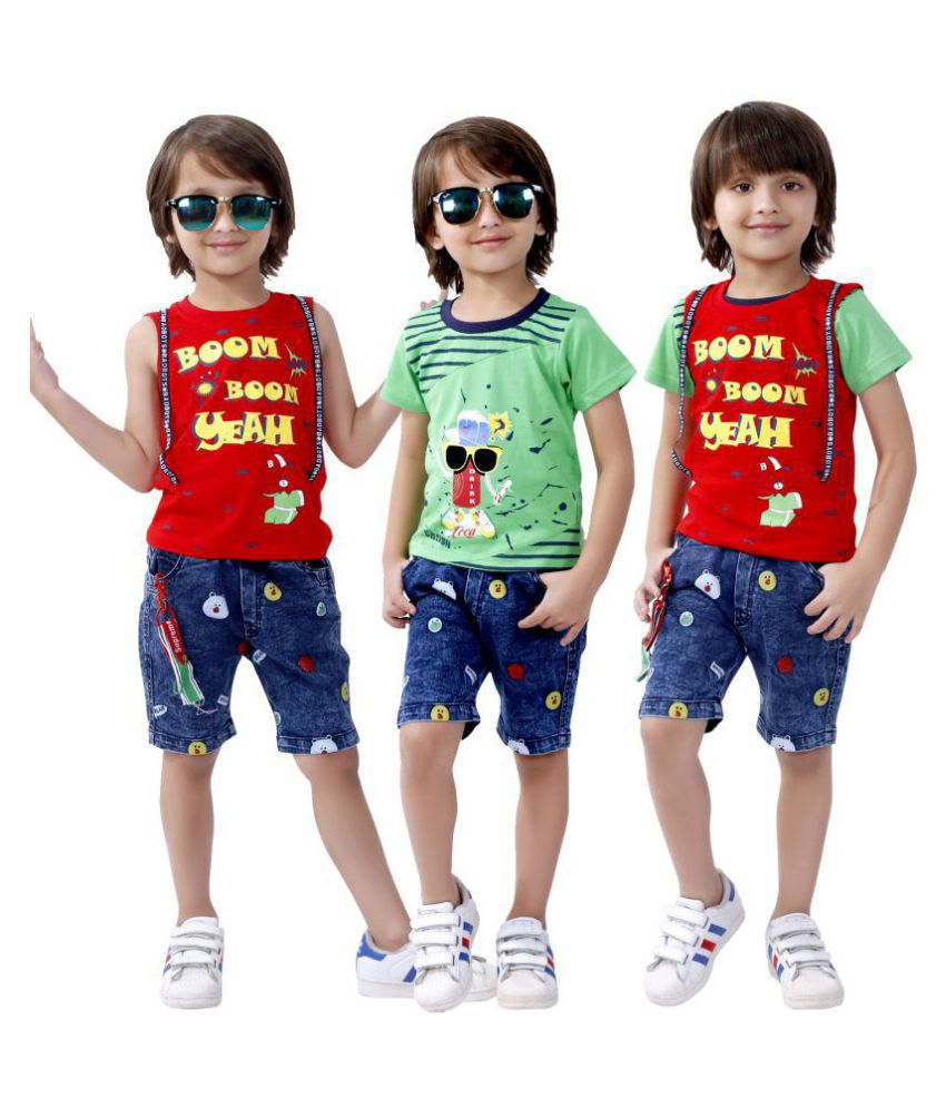 Bad Boys Stylish Casual Outfit with Cotton T-shirt and Denim Bottoms