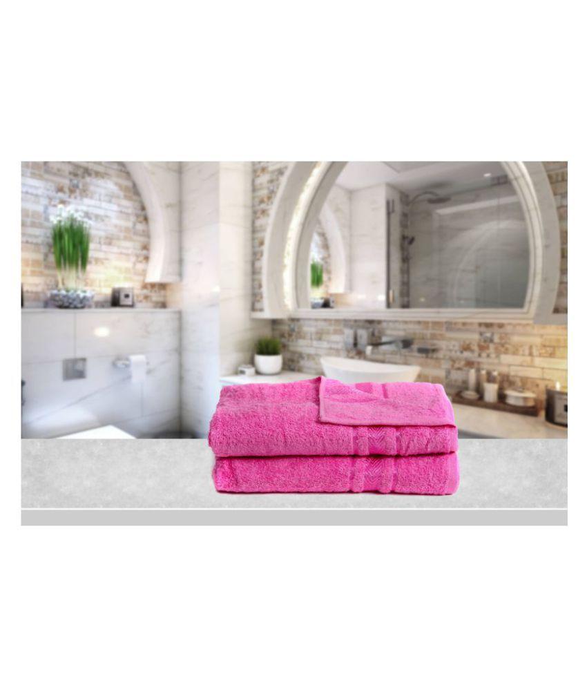 Vataso Set of 2 Cotton Bath Towel Pink