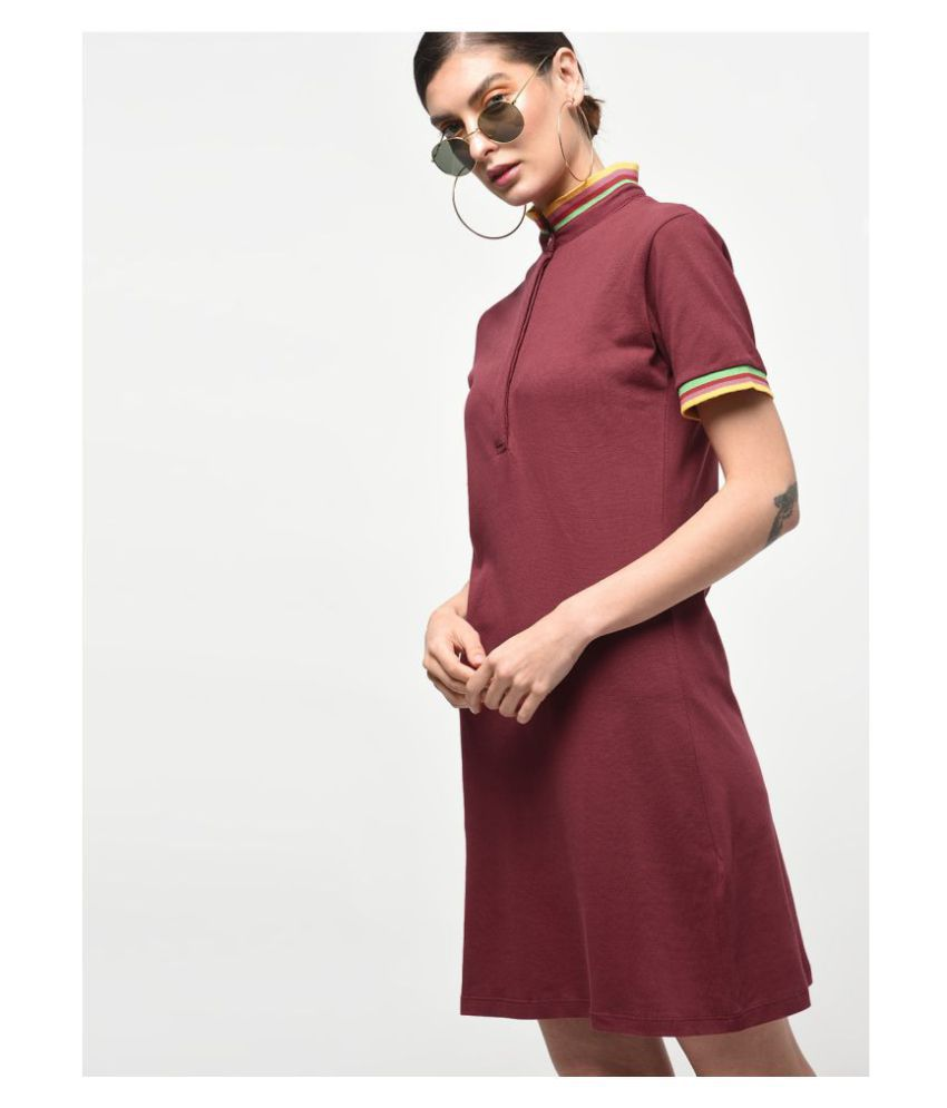 KAPOOR BROTHERS Cotton Maroon A- line Dress