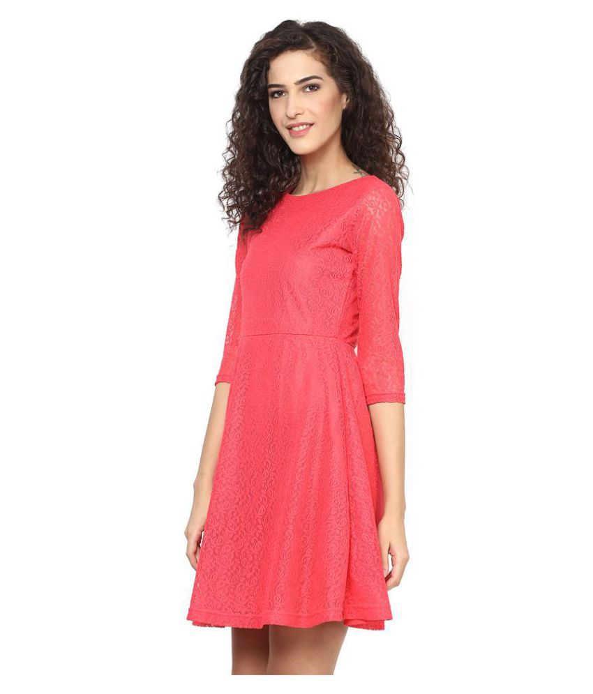 KAPOOR BROTHERS Net Pink Regular Dress